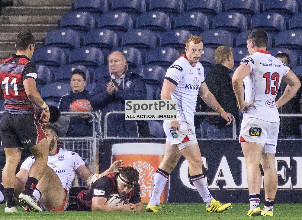 Edinburgh #7 Hamish Watson scoring his try. Edinburgh Rugby v Ulster Rugby, 16th October 2015