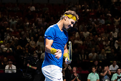 January 7, 2019 - Sydney, NSW, U.S. - SYDNEY, AUSTRALIA - JANUARY 07: Rafael Nadal (ESP) claps Nick Kyrgios's (AUS) shot at The Sydney FAST4 Tennis Showdown on January 07, 2018, at Qudos Bank Arena in Homebush, Australia. (Photo by Speed Media/Icon Sportswire) (Credit Image: © Steven Markham/Icon SMI via ZUMA Press)