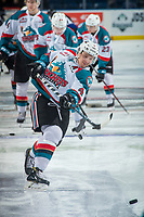 KELOWNA, CANADA - DECEMBER 30: Gordie Ballhorn #4 of the Kelowna Rockets warms up with a shot on net against the Victoria Royals on December 30, 2017 at Prospera Place in Kelowna, British Columbia, Canada.  (Photo by Marissa Baecker/Shoot the Breeze)  *** Local Caption ***