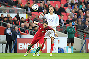 Portugal midfielder, Joao Moutinho (08) battling for ball with England midfielder, Dele Alli (20) during the Friendly International match between England and Portugal at Wembley Stadium, London, England on 2 June 2016. Photo by Matthew Redman.