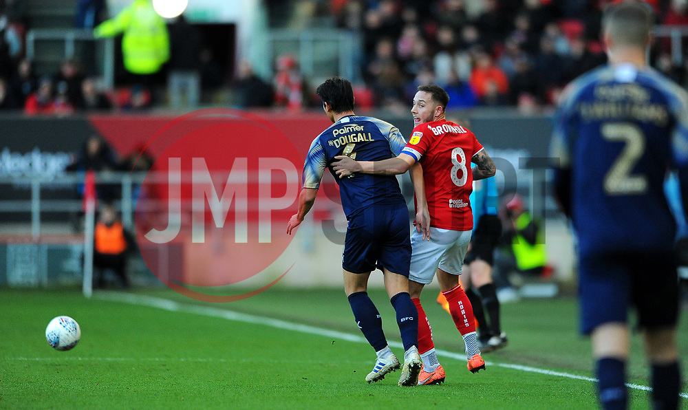 Josh Brownhill of Bristol City competes with Kenny Dougall of Barnsley-Mandatory by-line: Nizaam Jones/JMP - 18/01/2020 - FOOTBALL - Ashton Gate - Bristol, England - Bristol City v Barnsley - Sky Bet Championship