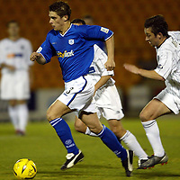 St Johnstone v Dunfermline..CIS Cup..28.10.03<br />Ross Forsyth pulls away from Barry Nicholson <br /><br />Picture by Graeme Hart.<br />Copyright Perthshire Picture Agency<br />Tel: 01738 623350  Mobile: 07990 594431