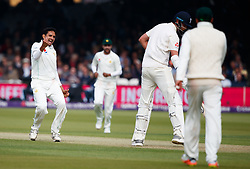 Pakistan's Mohammad Abbas celebrates taking the wicket of England's Stuart Broad during day one of the First NatWest Test Series match at Lord's, London.