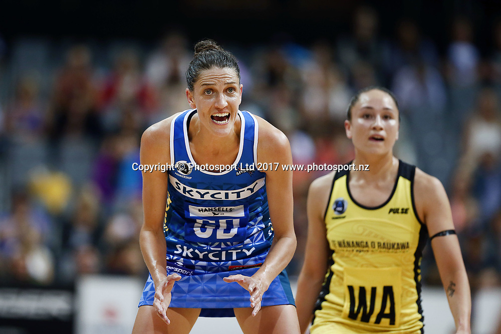 Anna Harrison of the Mystics reacts. 2017 ANZ Premiership netball match, Central Pulse v Northern Mystics at Claudelands Arena, Hamilton, New Zealand. 26 March 2017 © Copyright Photo: Anthony Au-Yeung / www.photosport.nz