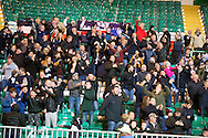 Dundee fans celebrate Marcus Haber's goal - Celtic v Dundee in the Ladbrokes Scottish Premiership at Celtic Park, Glasgow. Photo: David Young<br /> <br />  - &copy; David Young - www.davidyoungphoto.co.uk - email: davidyoungphoto@gmail.com