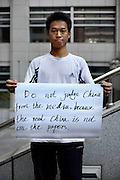 Lim - 22 Yrs.<br /> Student of party politics.<br /> Beijing.<br /> <br /> 'Do not judge China from the media, because the real China is not on the papers'.