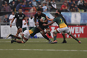 Rosario (ARGENTINA), June 12, 2019: Tupou Va'ai of New Zealand is tackled by South African players during the World Rugby U20 Championship match between New Zealand and South Africa at Hipódromo (Racecourse) Stadium, on Wednesday, June 12, 2019 in Rosario, Argentina. (photo by Pablo Gasparini/Photosport)