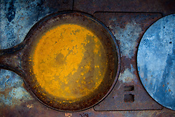 beautiful rusted pan and stove