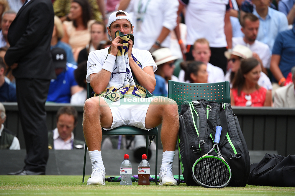 Lucas Pouille (FRA) during his fourth round match one at the 2019 Wimbledon Championships at the AELTC in London, GREAT BRITAIN, on July 6, 2019. Photo by Corinne Dubreuil/ABACAPRESS.COM