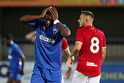 AFC Wimbledon attacker Michael Folivi (17) with hands on head during the Pre-Season Friendly match between AFC Wimbledon and Bristol City at the Cherry Red Records Stadium, Kingston, England on 9 July 2019.