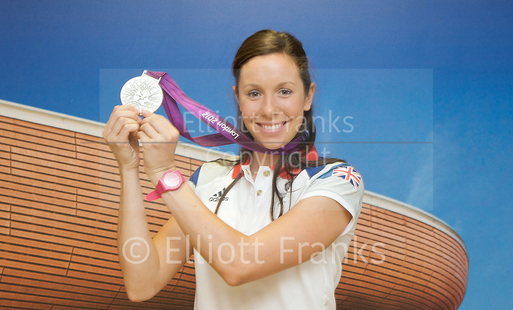 Samantha Murray<br /> <br /> Olympic Games Women's Modern Pentathlon silver medalist. <br /> <br /> The final Team GB medal won in the Olympic Games London 2012.<br /> <br /> Press Conference at Team GB House. Stratford, London, Great Britain <br /> <br /> 13th August 2012 <br /> <br /> Samantha Murray <br /> <br /> Photograph by Elliott Franks