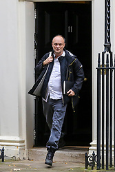 "© Licensed to London News Pictures. 23/10/2019. London, UK. Special Advisor to the Prime Minister DOMINIC CUMMINGS departs from No 11 Downing Street to attend Prime Minister's Questions (PMQs) in the House of Commons. On Tuesday 22 October 2019, MPs rejected Prime Minister BORIS JOHNSON'S fast-track timetable for ratifying the Brexit deal and the government ""paused"" the parliamentary process — almost certainly ending any prospect of Brexit on 31 October.  Photo credit: Dinendra Haria/LNP"