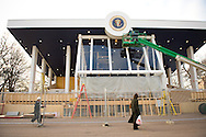 Workers prepare for the Inauguration of Barack Obama in January of 2009.