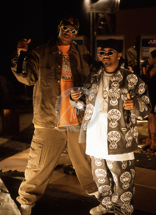 "Master P and Jermaine Dupri on the set of their 1999 music video ""Da Ballers""."