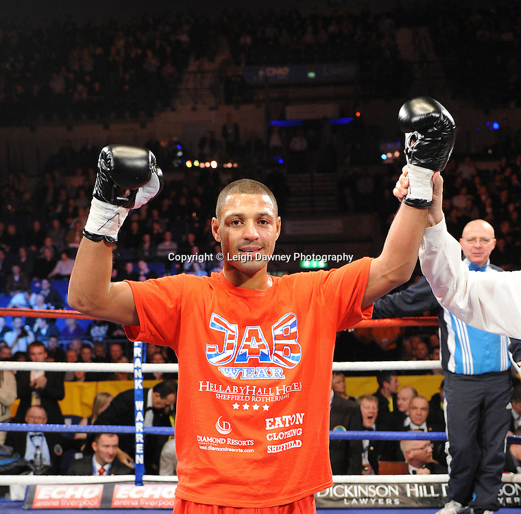 """Kell Brook defeats Phillip Kotey at the Echo Arena, Lverpool,11th December 2010,Frank Warren.tv Promotions """"Return Of The Magnificent Seven"""" © Photo Leigh Dawney"""