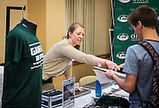 The newest Bobcats had the opportunity to register for the O Zone and other campus activities druing the Involvement Resource Fair at the start of Bobcat Student Orientation on Friday, June 5, 2015.  Photo by Ohio University  /  Rob Hardin
