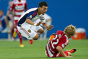 FRISCO, TX - JULY 13:  Javier Morales #11 of Real Salt Lake is tackled by Stephen Keel #22 of FC Dallas on July 13, 2013 at FC Dallas Stadium in Frisco, Texas.  (Photo by Cooper Neill/Getty Images) *** Local Caption *** Javier Morales; Stephen Keel