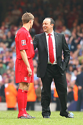 CARDIFF, WALES - SATURDAY, MAY 13th, 2006: Liverpool's Steven Gerrard and manager Rafael Benitez after victory over West Ham United after winning the FA Cup on penalty kicks during the FA Cup Final at the Millennium Stadium. (Pic by David Rawcliffe/Propaganda)