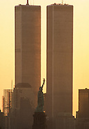 World Trade Center with Statue of Liberty in the foreground.