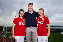 Bristol City Women's FC loan signings Jodie Brett and Millie Farrow pose with Manager Willie Kirk - Mandatory byline: Rogan Thomson/JMP - 11/01/2016 - FOOTBALL - Stoke Gifford Stadium - Bristol, England - Bristol City Women's FC New Signings.