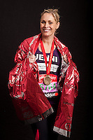 Jenni Falconer. Portraits of celebrities shortly after they have crossed the line to finish the Virgin Money London Marathon 2014 at the finish line on Sunday 13 April 2014<br /> Photo: Dillon Bryden/Virgin Money London Marathon<br /> media@london-marathon.co.uk