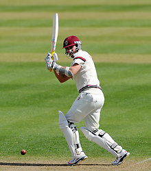 Somerset's Tom Cooper flicks the ball off the bowling of Durham's Paul Coughlin- Photo mandatory by-line: Harry Trump/JMP - Mobile: 07966 386802 - 12/04/15 - SPORT - CRICKET - LVCC County Championship - Day 1 - Somerset v Durham - The County Ground, Taunton, England.