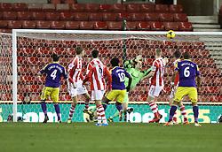 Swansea's Chico Flores scores the equalising goal  - Photo mandatory by-line: Matt Bunn/JMP - Tel: Mobile: 07966 386802 10/02/2014 - SPORT - FOOTBALL - Stoke - Britannia Stadium - Stoke City  v Swansea City - Barclays Premiership