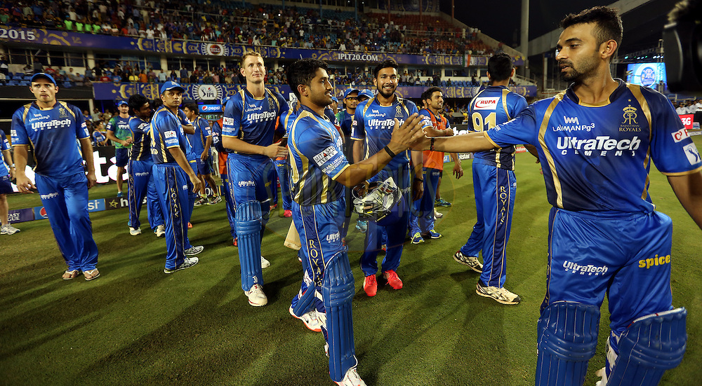 Rajasthan Royals team celebrates after winning the match 9 of the Pepsi IPL 2015 (Indian Premier League) between The Rajasthan Royals and The Mumbai Indians held at the Sardar Patel Stadium in Ahmedabad , India on the 14th April 2015.<br /> <br /> Photo by:  Sandeep Shetty / SPORTZPICS / IPL