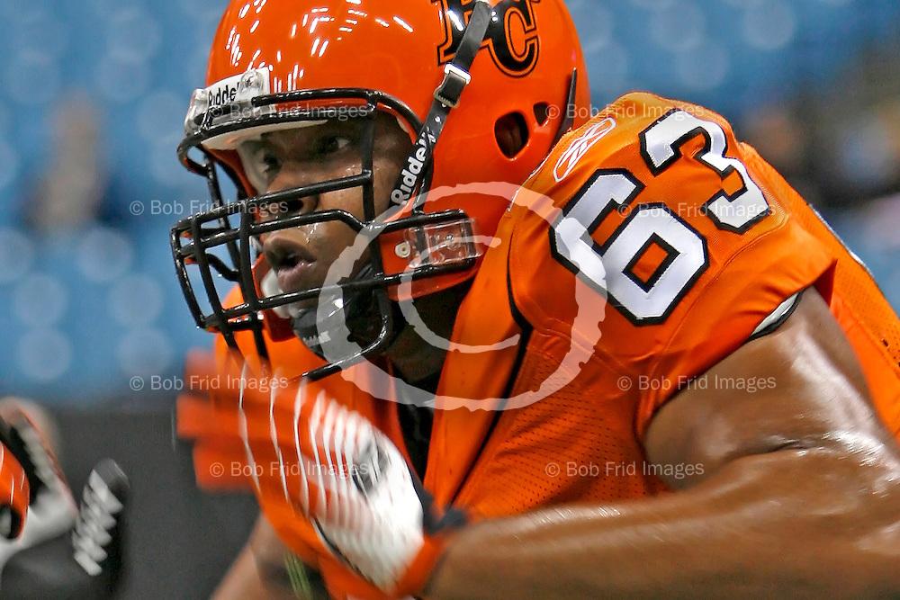 BC Lions' Defensive Tackle Amariah Farrow (no.63)