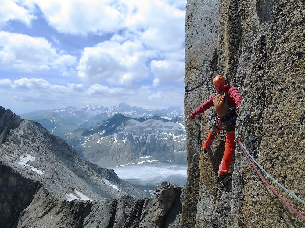 'Lunar Impulse', a granite climbing route near Furka Pass, Switzerland.