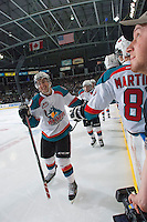 KELOWNA, CANADA - JANUARY 4: Jesse Lees #2 of the Kelowna Rockets celebrates a goal against the Kelowna Rockets on January 4, 2014 at Prospera Place in Kelowna, British Columbia, Canada.   (Photo by Marissa Baecker/Shoot the Breeze)  ***  Local Caption  ***