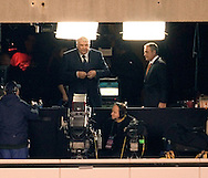 ABC Monday Night Football announcer John Madden and Al Michales durring the last Monday Night Football game on ABC between the New York Jets and the New England Patriots at Giants Stadium in East Rutherford NJ Monday 26 December 2005