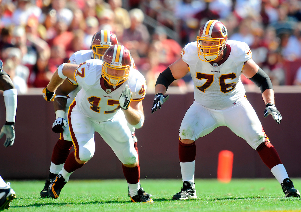 LANDOVER, MD - OCTOBER 12: Jon Jansen #76 of the Washington Redskins blocks against the St. Louis Rams at FedEx Field on October 12, 2008 in Landover, Maryland. The Rams defeated the Redskins 19-17.(Photo by Rob Tringali/Sportschrome/ Images) *** Local Caption *** Jon Jansen