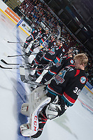 KELOWNA, CANADA - SEPTEMBER 28: Tyrell Goulbourne #12, Colton Heffley #25, Cole Linaker #26, Damon Severson #7, Cole Martin #8 and Jordon Cooke #30 of the Kelowna Rockets make up the starting line up against the Victoria Royals  at the Kelowna Rockets on September 28, 2013 at Prospera Place in Kelowna, British Columbia, Canada (Photo by Marissa Baecker/Shoot the Breeze) *** Local Caption ***