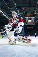 KELOWNA, CANADA - MARCH 22: Eric Comrie #1 of the Tri-City Americans allows a goal from the Kelowna Rockets on March 22, 2014 during game 1 of the first round of WHL Playoffs at Prospera Place in Kelowna, British Columbia, Canada.   (Photo by Marissa Baecker/Getty Images)  *** Local Caption *** Eric Comrie;
