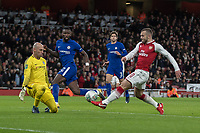 Football - 2017 / 2018 Carabao (EFL/League) Cup - Semi-Final, Second Leg: Arsenal (0) vs. Chelsea (0)<br /> <br /> Jack Wilshere (Arsenal FC) tries to poke his shot past the on rushing Wilfredo Caballero (Chelsea FC) at The Emirates.<br /> <br /> COLORSPORT/DANIEL BEARHAM