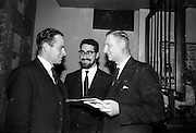 12/11/1964<br /> 11/12/1964<br /> 12 November 1964<br /> Louis Marcus in the centre chatting with Roibeard Mac Gabhrain Chairman An Comhchaidreamh who presided at the meeting and Barra O Cinneide Secretary