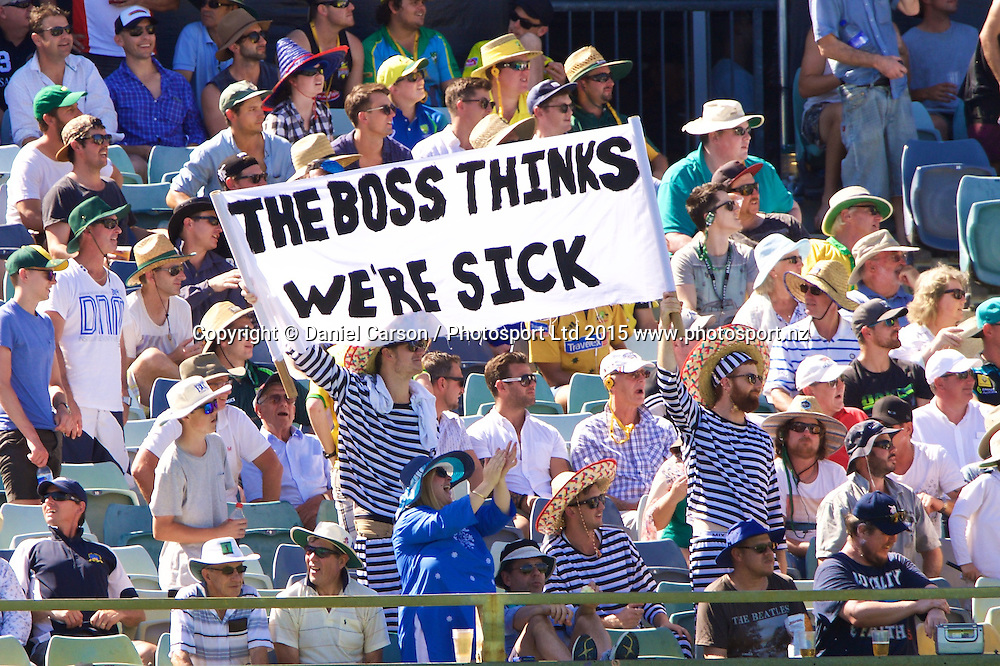 Fans in the crowd during Day 1 on the 13th of November 2015. The New Zealand Black Caps tour of Australia, 2nd test at the WACA ground in Perth, 13 - 17th of November 2015.   Photo: Daniel Carson / www.photosport.nz