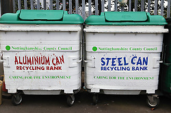 Containers for recycling aluminium and steel cans at tip,