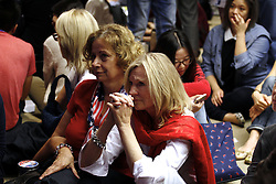 November 9, 2016 - Clinton supporters watch live coverage of Presidential Election 2016 on voting day at the venue hosted by American Chamber of Commerce in Hong Kong. Nov 9, 2016. Hong Kong. Liau Chung Ren/ZUMA (Credit Image: © Liau Chung Ren via ZUMA Wire)
