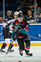 KELOWNA, CANADA - OCTOBER 3:  Lassi Thompson #2 of the Kelowna Rockets skates against the Vancouver Giants on October 3, 2018 at Prospera Place in Kelowna, British Columbia, Canada.  (Photo by Marissa Baecker/Shoot the Breeze)  *** Local Caption ***