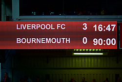 LIVERPOOL, ENGLAND - Saturday, February 9, 2019: Liverpool's scoreboard records the 3-0 victory over AFC Bournemouth during the FA Premier League match between Liverpool FC and AFC Bournemouth at Anfield. (Pic by David Rawcliffe/Propaganda)