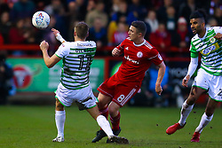 Scott Brown of Accrington Stanley takes on Ryan Dickson of Yeovil Town - Mandatory by-line: Robbie Stephenson/JMP - 17/04/2018 - FOOTBALL - Wham Stadium - Accrington, England - Accrington Stanley v Yeovil Town - Sky Bet League Two