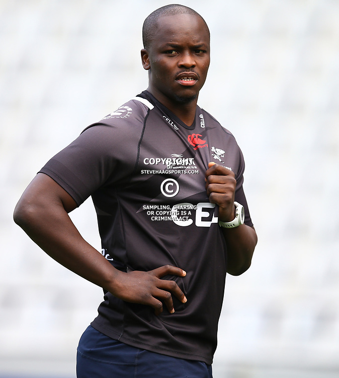 Tera Mtembu during The Cell C Sharks captain's run at Growthpoint Kings Park in Durban, South Africa. 3rd August 2017(Photo by Steve Haag)<br /> <br /> images for social media must have consent from Steve Haag