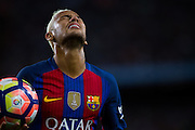 Neymar Jr laments his kick during the La Liga match between Barcelona and Atletico Madrid at Camp Nou, Barcelona, Spain on 21 September 2016. Photo by Eric Alonso.