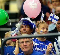 21-09-2013 VOLLEYBAL: EK MANNEN SLOVENIE - FINLAND: HERNING<br /> Support publiek Finland<br /> &copy;2013-FotoHoogendoorn.nl
