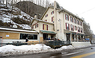 Fire personnel examine the aftermath of a fire at the Indian Rock Inn Wednesday, March 11, 2015 in Upper Black Eddy, Pennsylvania. (Photo by William Thomas Cain/Cain Images)