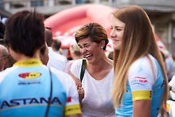 Claudia Cretti returns to catch up with friends, the Italian rider was seriously injured at the 2017 Giro Rosa - Giro Rosa 2018 - Team Presentation in Verbania, Italy on July 5, 2018. Photo by Sean Robinson/velofocus.com