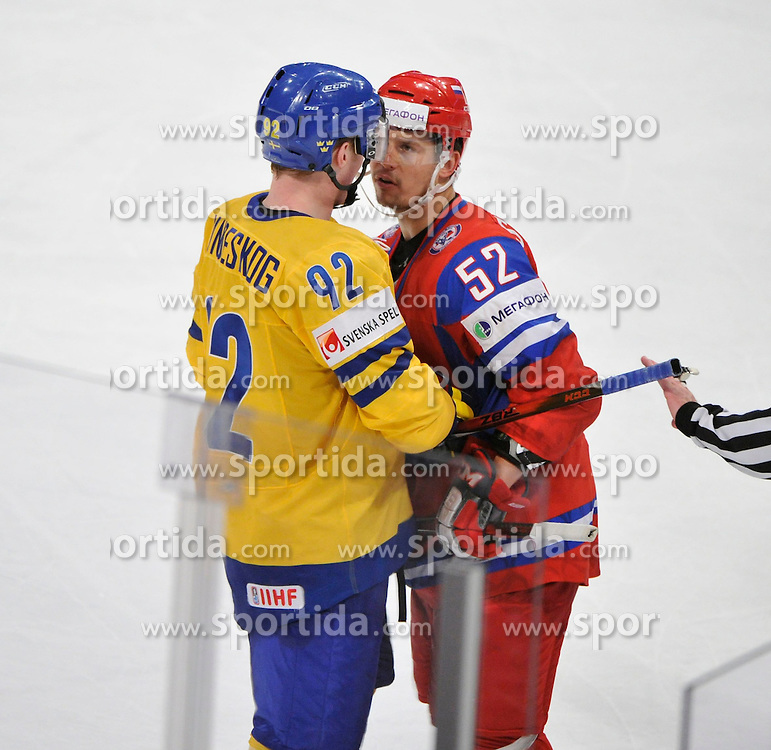 11.05.2012, Ericsson Globe, Stockholm, SWE, IIHF, Eishockey WM, Russland (RUS) vs Schweden (SWE), im Bild, Russia 52 Sergei Shirokov (CSKA Moscow) Sverige Sweden 92 Gabriel Landeskog arguing // during the IIHF Icehockey World Championship Game between Russia (RUS) and Sweden (SWE) at the Ericsson Globe, Stockholm, Sweden on 2012/05/11. EXPA Pictures © 2012, PhotoCredit: EXPA/ PicAgency Skycam/ Simone Syversson..***** ATTENTION - OUT OF SWE *****