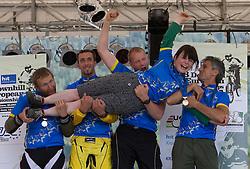 Medal ceremony of Masters categories: all winners Alastair Maclennan (GBR),  Polo Alleva (ITA), woman Meave Baxter (IRL), Jorg Heydt (GER) and Max Schuster (AUT)  at MTB Downhill European Championships, on June 13, 2009, at Kranjska Gora, Slovenia. (Photo by Vid Ponikvar / Sportida)